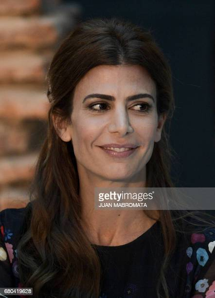 Argentine first lady Juliana Awada, gestures during the official lunch at the Bicentenario Museum in the Casa Rosada presidential palace, Buenos...