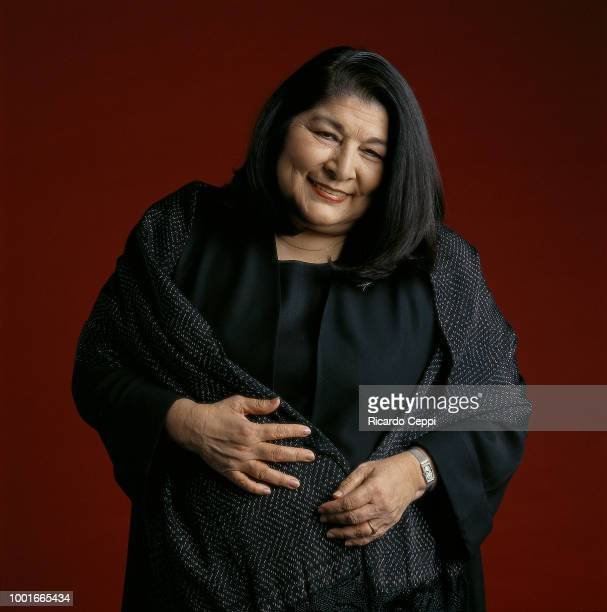 Argentine folk singer Mercedes Sosa poses during an exclusive portrait session during an exclusive portrait session on December 01 1994 in Buenos...