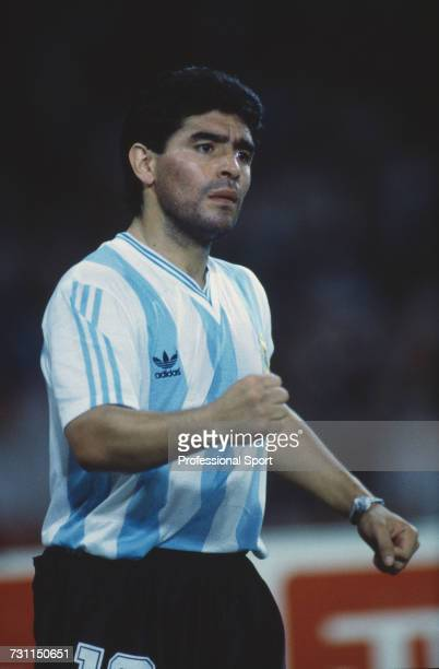 Argentine football captain Diego Maradona pictured encouraging his teammates during the semi final match between Argentina and Italy in the 1990 FIFA...