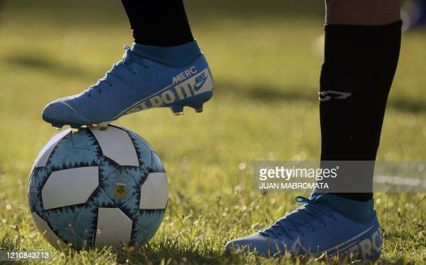 Argentine football player Mara Gomez trains with her first division women's football team, Villa San Carlos, in La Plata, Argentina, on February 14,...
