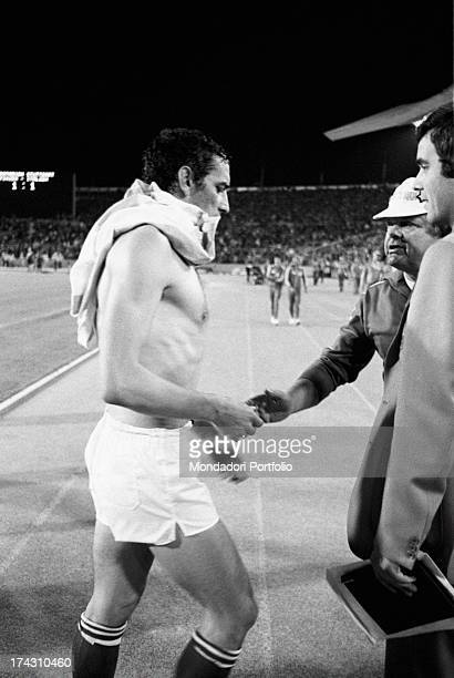 Argentine football players Rubèn Glaria Renè Houseman and Roberto Perfumo leaving the field at the end of the match between Italy and Argentina at...