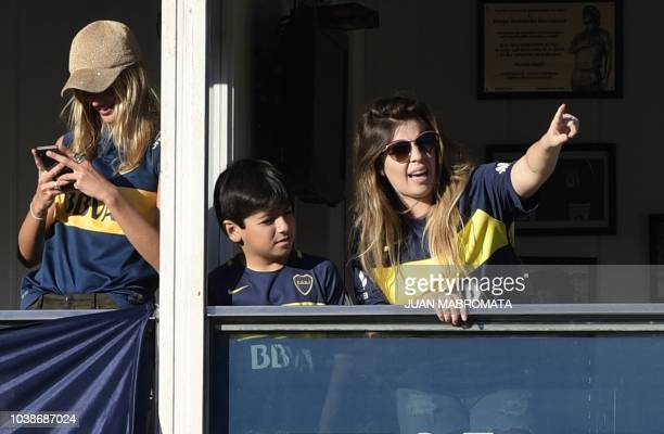 Argentine football star Diego Maradona's daughter Dalma Maradona and grandson Benjamin Aguero son of Giannina Maradona and Argentine footballer...