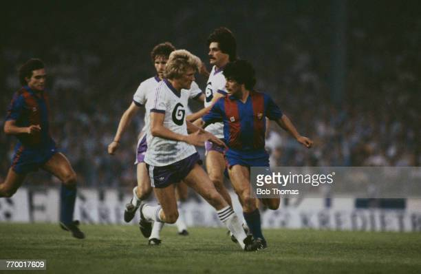Argentine footballer Diego Maradona in action for Barcelona in a friendly match against Anderlecht at the Constant Vanden Stock Stadium, Brussels,...
