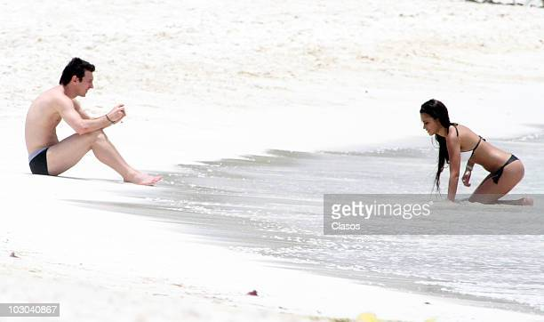 Argentine footballer Lionel Messi and girlfriend Antonella Rocuzzo are seen on July 20 2010 in Cancun Mexico