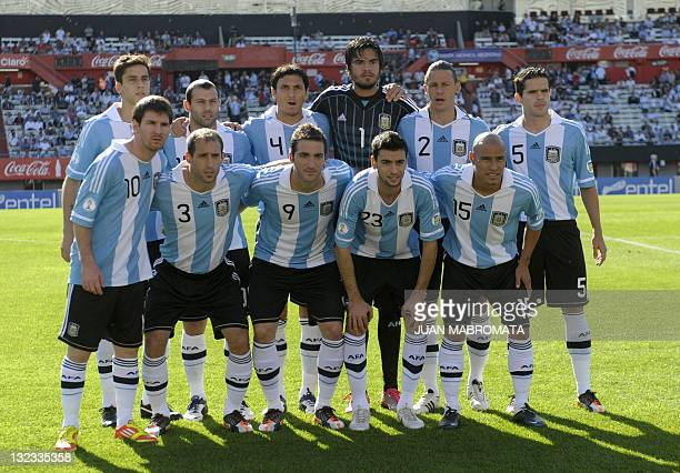 Argentine footballers Lionel Messi Pablo Zabaleta Gonzalo Higuain Javier Pastore and Clemente Rodriguez and Ricardo Alvarez Javier Mascherano Nicolas...