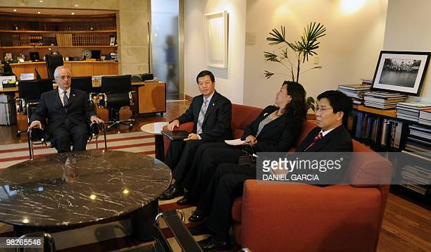 Argentine Foreign Minister Jorge Taiana receives China's ambassador to Argentina Gang Zen during a meeting in his office at the Ministry of Foreign...