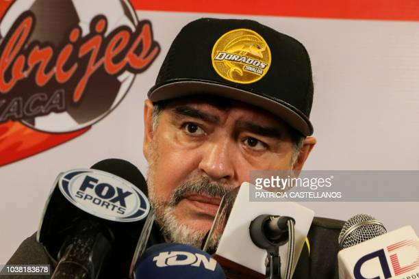 Argentine forme football player Diego Maradona speaks during a press conference after his second match as a coach of the Mexican seconddivision...