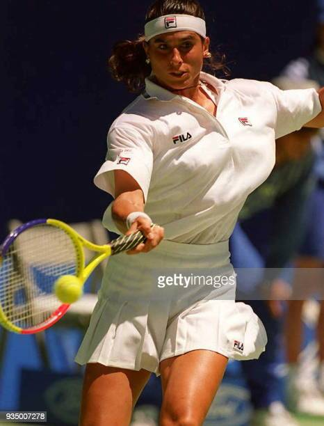 Argentine Gabriela Sabatini sends a forehand return to Germany's Karin Kschwendt during the third round of the Australian Open 19 January. Sixth...