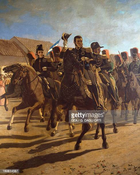 Argentine General Jose de San Martin with his staff inspecting troops at Rancagua painting by Juan Blanes Argentina 19th century