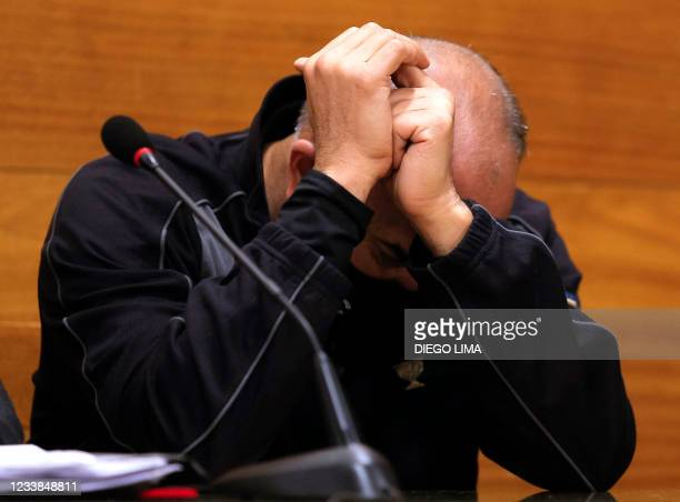 """Argentine golfer Angel """"Pato"""" Cabrera is seen during a hearing as part of his trial for """"gender violence and theft"""" in Cordoba, Argentina on July 7,..."""