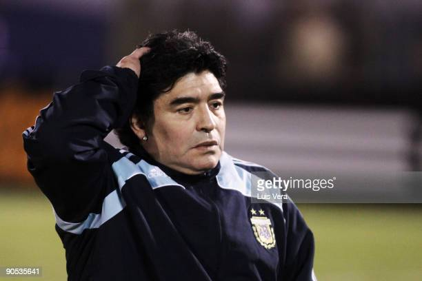 Argentine head coach Diego Maradona looks defeated after a 2010 FIFA World Cup qualifier between Paraguay and Argentina at the Defensores del Chaco...