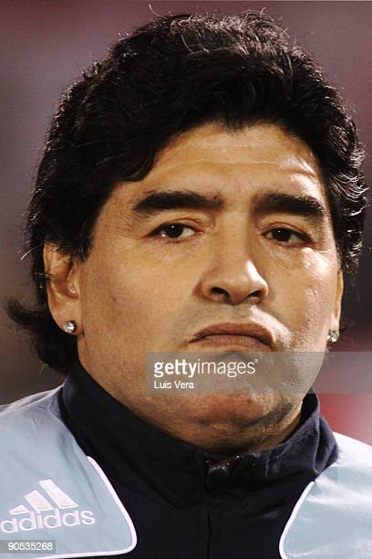 Argentine head coach Diego Maradona looks during a 2010 FIFA World Cup qualifier between Paraguay and Argentina at the Defensores del Chaco Stadium...