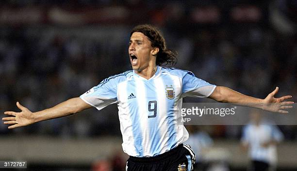 Argentine Hernan Crespo celebrates after scoring a goal against Ecuador 30 March at the Monumental stadium in Buenos Aires Argentina during the South...