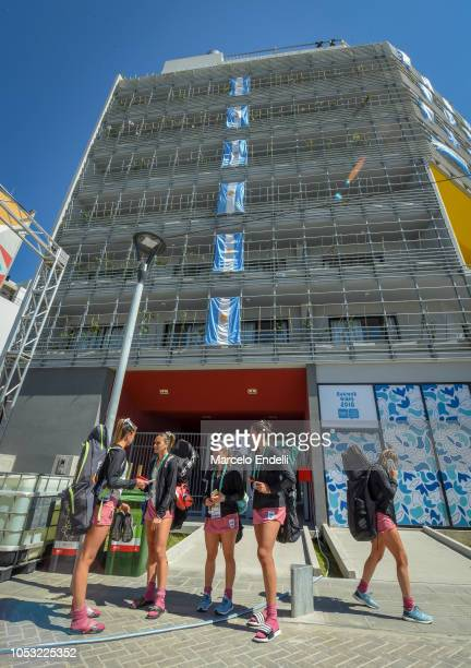 Argentine Hockey Athletes leave their apartment building during a visit to the Youth Olympic Village on October 10 2018 in Buenos Aires Argentina