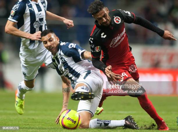 Argentine Leonel Vangioni of Monterrey vies for the ball with fellow countryman Juan Lucero of Tijuana during the Mexican Clausura football...
