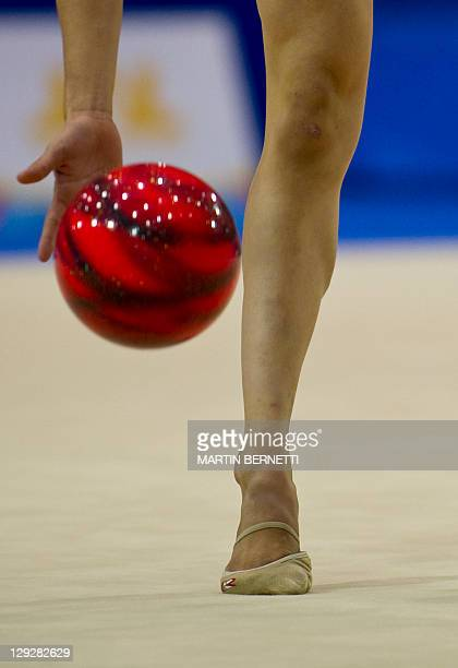 Argentine Linda Sandoval performs with the ball in the individual competition of Rhythmic Gymnastics during the XVI PanAmerican Games Guadalajara...