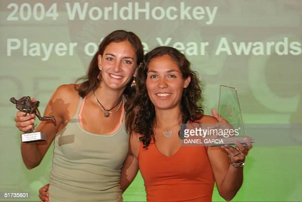 Argentine Luciana Aymar choosen World Hockey Player of the Year 2004 and Soledad Garcia choosen World Hockey Young Player of the Year 2004 pose for...