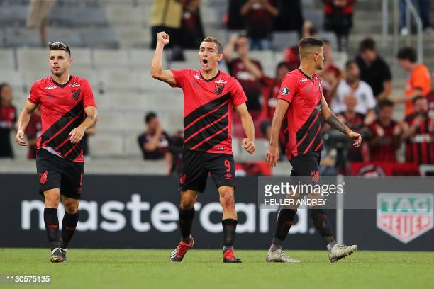 Argentine Marco Ruben of Brazil's Atletico Paranaense celebrates after scoring against Bolivia's Jorge Wilstermann during their Libertadores Cup...