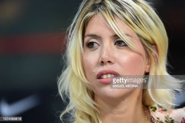 Argentine media personality and wife of Inter Milan's Argentine forward Mauro Icardi Wanda Nara attends the Italian Serie A football match Inter...