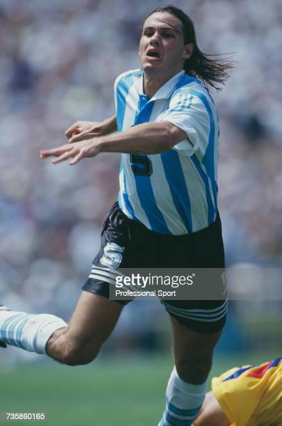 Argentine midfielder Fernando Redondo pictured in action in the 1994 FIFA World Cup knockout stage round of 16 match between Romania and Argentina at...