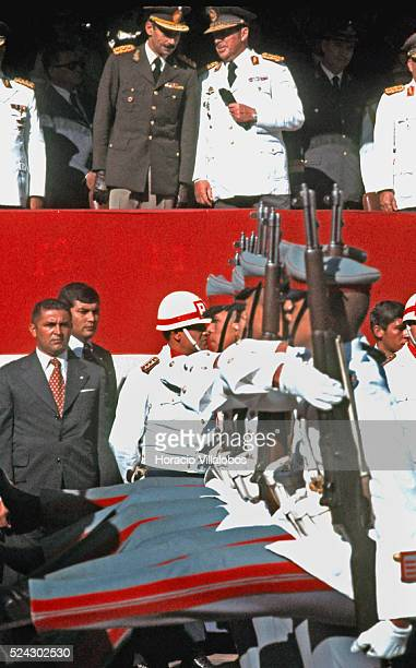Argentine military dictator Jorge Rafael Videla chats with Paraguayan dictator General Alfredo Stroessner during a military parade in Asuncion It was...