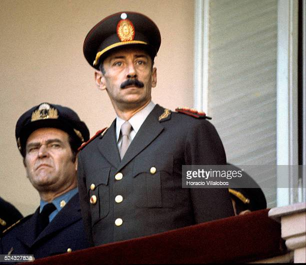 Argentine military dictator Jorge Rafael Videla observes the Changing of the Guard from the Presidential Palace balcony It was under his rule that up...