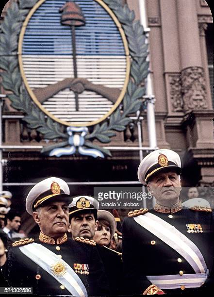 Argentine military dictators Roberto Viola and Leopoldo Fortunato Galtieri attend a military parade As successors to Videla they were responsible for...