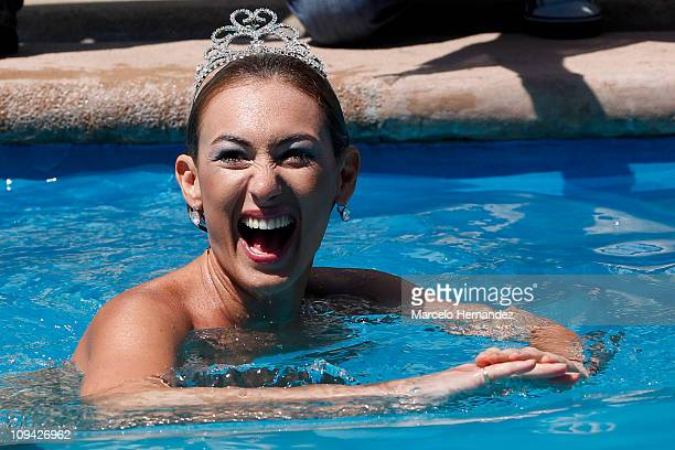 Argentine model Andrea Dellacasa the Queen of the 52th International Song Festival during a photo shoot in the pool of a hotel on February 25 2011 in...