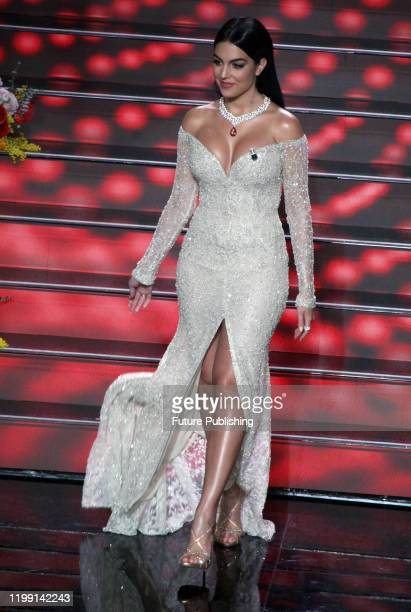 Argentine model Georgina Rodriguez partner of Portuguese soccer star Cristiano Ronaldo walks on stage at the Ariston theatre during the 70th Sanremo...