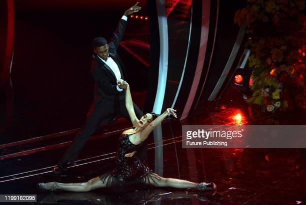 Argentine model Georgina Rodriguez partner of Portuguese soccer star Cristiano Ronaldo performs on stage at the Ariston theatre during the 70th...