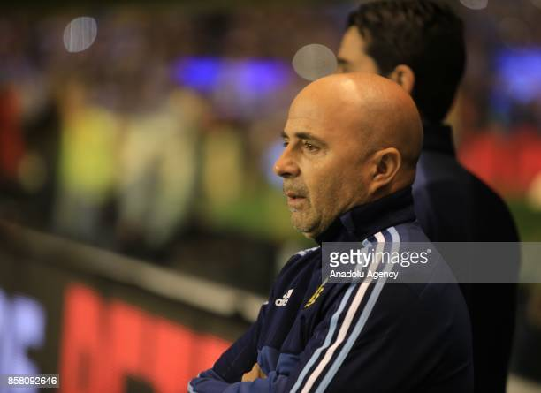 Argentine national football team manager Jorge Sampaoli looks on during the 2018 FIFA World Cup Qualification match between Argentina and Peru at the...