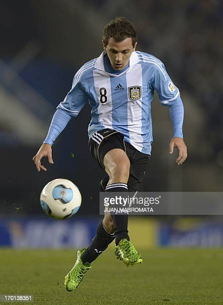 Argentine national football team's player Walter Montillo kicks the ball during the Brazil 2014 World Cup South American qualifier football match...