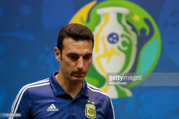 Argentine National Team coach Lionel Scaloni looks during official press conference as part of the Copa America Brazil 2019 at Maracana Stadium on...