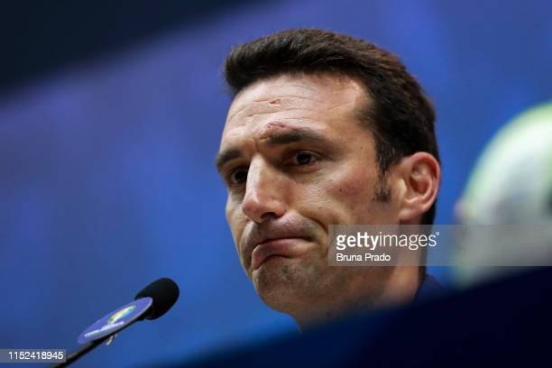Argentine national team coach Lionel Scaloni reacts during an official press conference as part of the Copa America Brazil 2019 at Maracana Stadium...