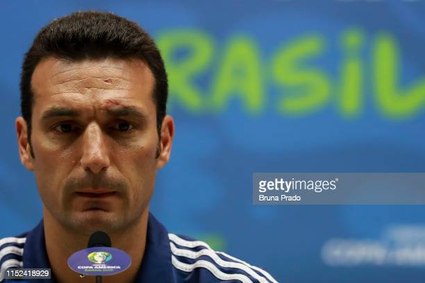 Argentine national team coach Lionel Scaloni speaks during an official press conference as part of the Copa America Brazil 2019 at Maracana Stadium...