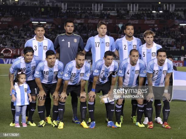 Argentine national team players Marcos Rojo Sergio Romero Federico Fernandez Ezequiel Garay and Lucas Biglia Ever Banega Sergio Aguero Rodrigo...