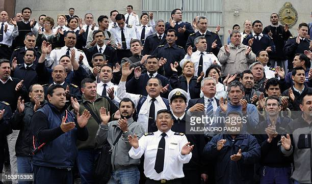 Argentine Navy personnel participate in a protest over wage claims outside the Navy headquarters in Buenos Aires October 3 2012 AFP PHOTO/Alejandro...