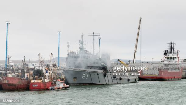 Argentine Navy Puerto Argentino vessel is seen before leaving the harbour to take part in the search of the missing submarine ARA San Juan in...
