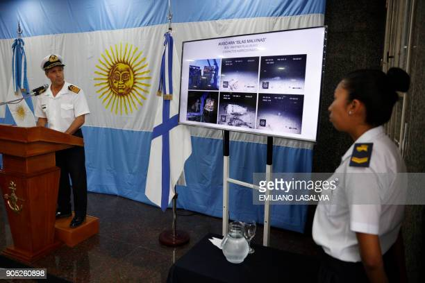 Argentine Navy spokesman Captain Enrique Balbi delivers a press conference marking two months of the disappearance of the ARA San Juan submarine with...