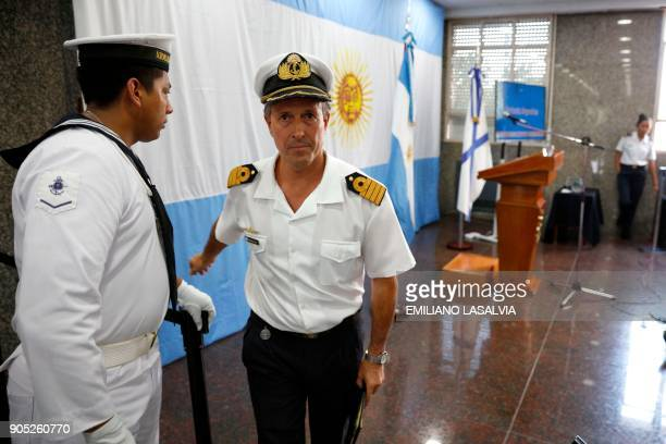 Argentine Navy spokesman Captain Enrique Balbi is pictured during a press conference marking two months of the disappearance of the ARA San Juan...