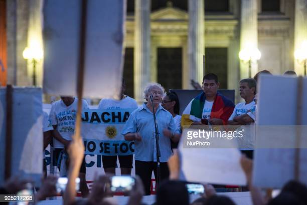Argentine Nobel Peace Prize laureate Adolfo Perez Esquivel take a rally in defense of the Law of Glaciers that is being modified to favor the mining...