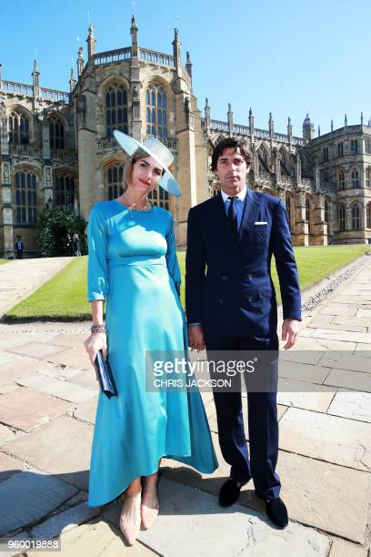 Argentine photographer and model Delfina Blaquier and Argentine polo player Nacho Figueras pose on arrival for the wedding ceremony of Britain's...