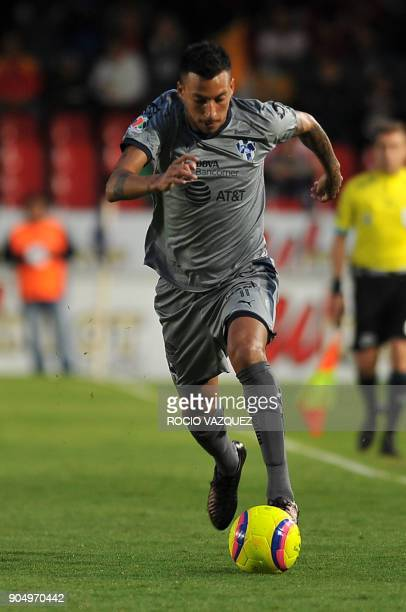 Argentine player Leonel Vangioni of Monterrey controls the ball during their Mexican Clausura tournament football match against Veracruz at the Luis...