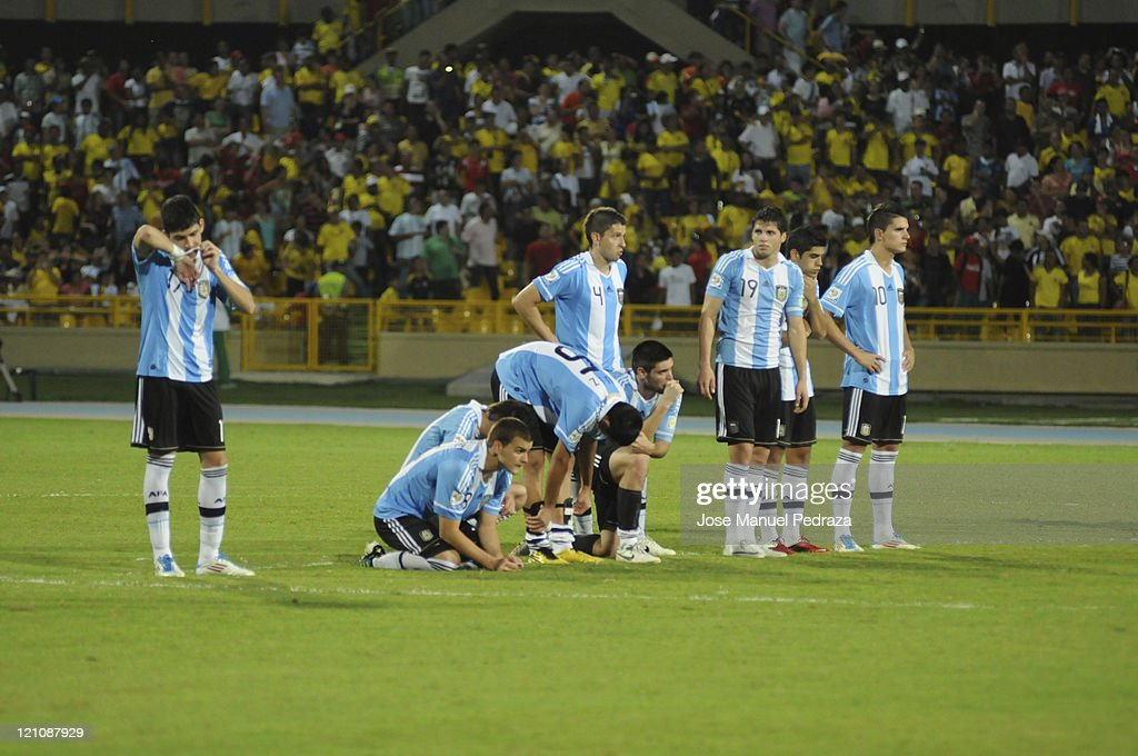 Argentine players lament after loosing in the penalty shoot out the match between Argentina and Portugal as part of the U20 World Cup Colombia 2011 at Jaime Moron Stadium on August 13, 2011 in Cartagena, Colombia.