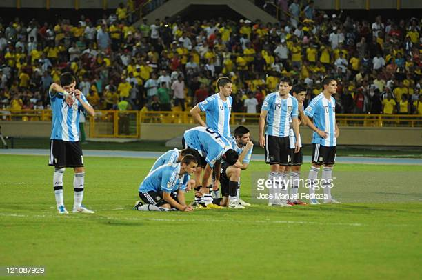 Argentine players lament after loosing in the penalty shoot out the match between Argentina and Portugal as part of the U20 World Cup Colombia 2011...