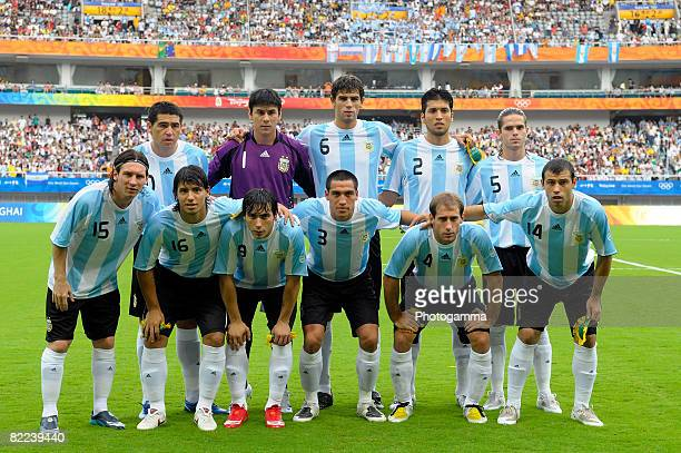 Argentine players lineup before the Men's Group A match between Argentina and Australia on day 2 of the Beijing 2008 Olympic Games on August 10 2008...