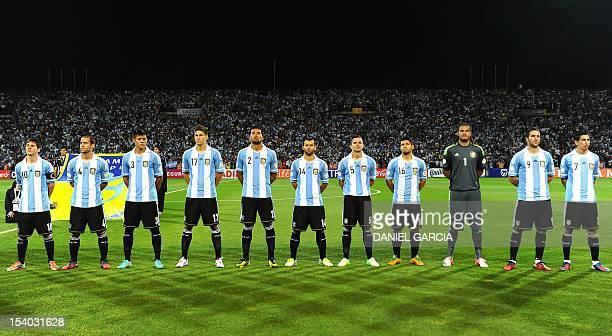 Argentine players Lionel Messi Pablo Zabaleta Marcos Rojo Federico Fernandez Ezequiel Garay Javier Mascherano Fernando Gago Sergio Aguero Sergio...