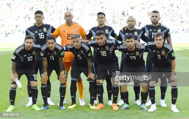 Argentine players pose ahead of a World Cup group stage match against Iceland at Spartak Stadium in Moscow on June 16 2018 ==Kyodo