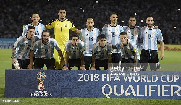 Argentine players pose for pictures before the start of their Russia 2018 FIFA World Cup South American Qualifiers' football match against Bolivia in...