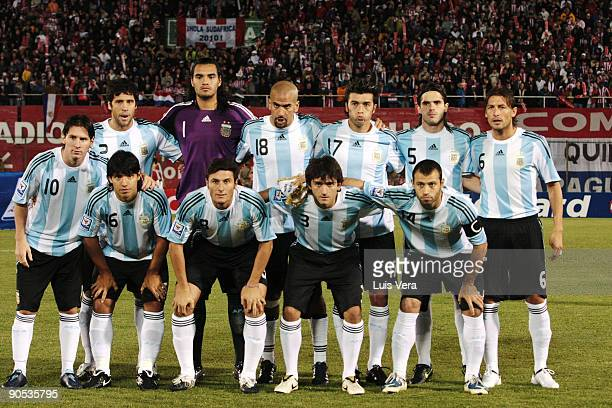 Argentine players pose prior to 2010 FIFA World Cup qualifier between Paraguay and Argentina at the Defensores del Chaco Stadium on September 9 2009...